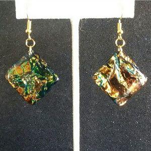 Gold dichroic glass dangle earrings